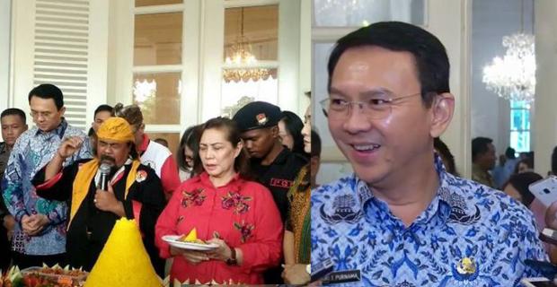 'Terima Kasih Pak Ahok dan Djarot', Sambutan Apresiasi Warga Dengan potong Tumpeng di Balai Kota